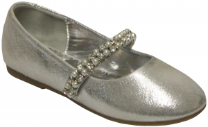 GIRLS BALLERINAS (2242445) SILVER SATIN
