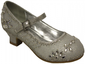GIRLS DRESSY SHOES WITH FLOWER RHINESTONES (SILVER)