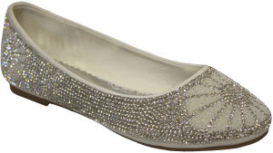 GIRLS FLAT SHOES WITH RHINESTONES (WHITE)