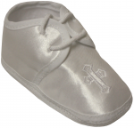 BABY BOYS SATIN SHOES W/ CROSS