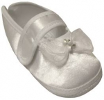 GIRLS SATIN SHOES W/ BOW & STRAP
