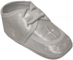 BABY BOYS SATIN SHOES W/ LACE & CROSS