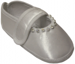 GIRLS SATIN SHOES W/ RHINESTONES & STRAP