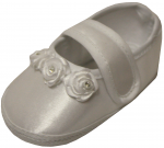 BABY GIRLS SATIN SHOES W/ 3 ROSES & STRAP