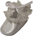 BABY GIRLS SATIN SHOESW LACE & VIRGIN