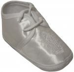 BABY BOYS SATIN SHOES W/ VIRGIN
