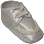 BABY BOYS SATIN SHOES W/LACE DESIGN IN FRONT