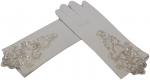 GIRLS SHORT SATIN GLOVES W/ PEARLS & APPLICATION (WHITE)