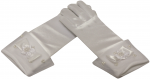 GIRLS SHORT SATIN GLOVES W/ BOW PEARLS (WHITE)