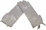 GIRLS SHORT SATIN GLOVES W/ LACE BOW & PEARLS (WHITE)