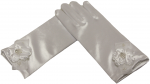 GIRLS SHORT SATIN GLOVES W/ FLOWER BOW (WHITE)