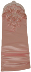 GIRLS LONG SATIN GLOVES FINGERLESS W/ APPLICATION & PEARLS (PINK)