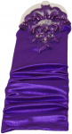 GIRLS LONG SATIN GLOVES FINGERLESS W/ APPLICATION & PEARLS (PURPLE)