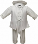 Boys Long Panty Christening Suit-White