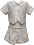 Boys Christening Suit (Short Set)-White
