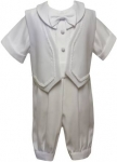 Boys Short Sleeves Long Jacket Suit-White