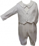 Boys Christening Jumper Suit w/ Vest