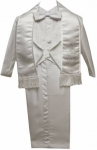Boys Christening Tuxedo w/ Scarf w/ White Embroidery on Jacket-(White/Silver)