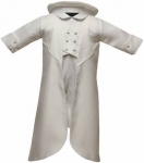 Boys Satin Silk Christening Suit w/ Long Jacket