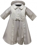 Boys Satin Christening Suit w/ Brocaded Jacket