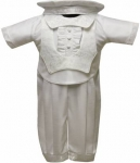 Boys Satin Christening Suit w/o Jacket- (White)