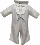 Boys Satin Christening Suit w/ Brocaded Jacket(White,Ivory)