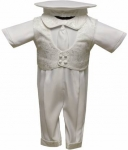 Boys Satin Christening Suit w/o Jacket-NJ-White