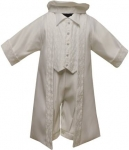 Boys Satin Christening suit w/ Strip Jacket
