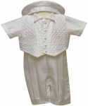 Boys Satin Christening Suit w/o Jacket-White