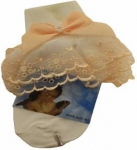 Girls Organza Socks w/ Satin  022105E-White/ Peach