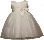 GIRLS CASUAL DRESSES W/ BOW (IVORY)