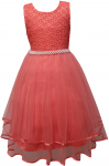 GIRLS CASUAL DRESSES W/ PEARLS (CORAL)