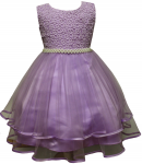 GIRLS CASUAL DRESSES W/PEARLS (LILAC)