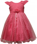 GIRLS CASUAL DRESSES W/FLOWER (FUSHIA)