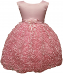 GIRLS CASUAL DRESSES W/FLOWER IN MIDDLE (PINK)