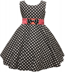 GIRLS CASUAL DRESSES POLKA DOTS (BLK/PINK)