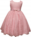 GIRLS CASUAL LACE  DRESSES (PINK)