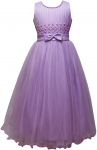 GIRLS CASUAL DRESSES W/ BOW IN WAIST (LILAC)