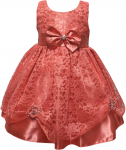 GIRLS CASUAL DRESSES W/ BOW (CORAL)