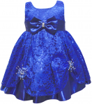 GIRLS CASUAL DRESSES W/ BOW (R.BLUE)