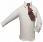 Boys Shirt w/ Tie and Hanky-(White/Red)