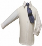 Boys Shirt w/ Tie and Hanky-(White/Navy)