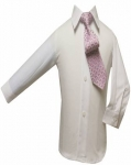 Boys Shirt w/ Tie and Hanky-(White/Pink)