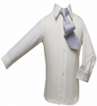 Boys Shirt w/ Tie and Hanky-(White/B.Blue)
