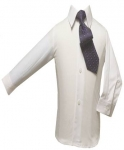 Boys Shirt w/ Tie and Hanky-(White/Purple)