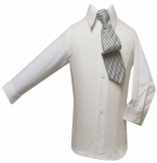 Boys Shirt w/ Tie and Hanky-( White/ Black)