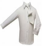 Boys Shirt w/ Tie and Hanky(White/White)
