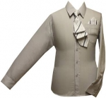 Boys Shirt w/ Tie and Hanky-( L. Gray/ L.Gray)