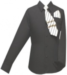 Boys Shirt w/ Tie and Hanky- (Black/ B.Black)