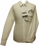 Boys Shirt w/ Tie and Hanky- (Ivory/ Ivory)